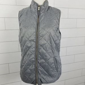Old Navy Women's Large Quilted Vest Gray Pockets